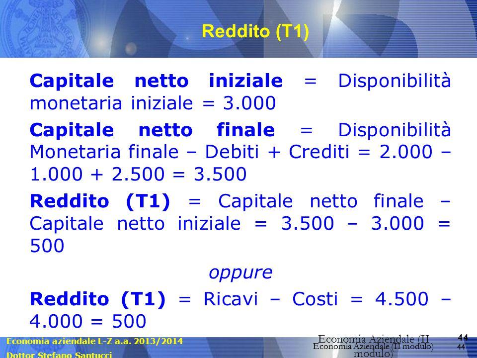Economia aziendale L-Z a.a. 2013/2014 Dottor Stefano Santucci Economia Aziendale (II modulo) 44 Economia Aziendale (II modulo) Reddito (T1) Capitale n