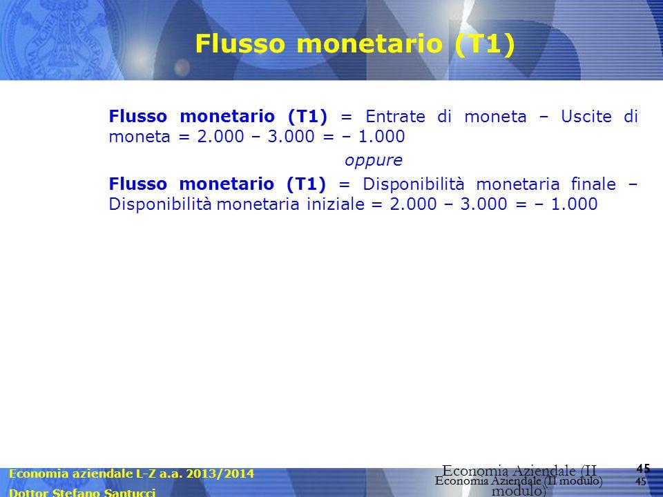 Economia aziendale L-Z a.a. 2013/2014 Dottor Stefano Santucci Economia Aziendale (II modulo) 45 Economia Aziendale (II modulo) Flusso monetario (T1) F