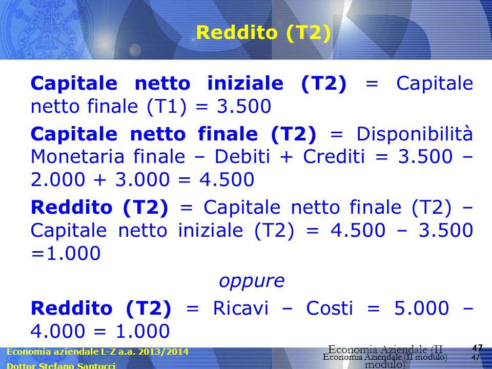 Economia aziendale L-Z a.a. 2013/2014 Dottor Stefano Santucci Economia Aziendale (II modulo) 47 Economia Aziendale (II modulo) Reddito (T2) Capitale n
