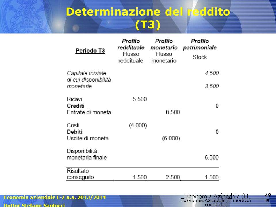Economia aziendale L-Z a.a. 2013/2014 Dottor Stefano Santucci Economia Aziendale (II modulo) 49 Economia Aziendale (II modulo) Determinazione del redd