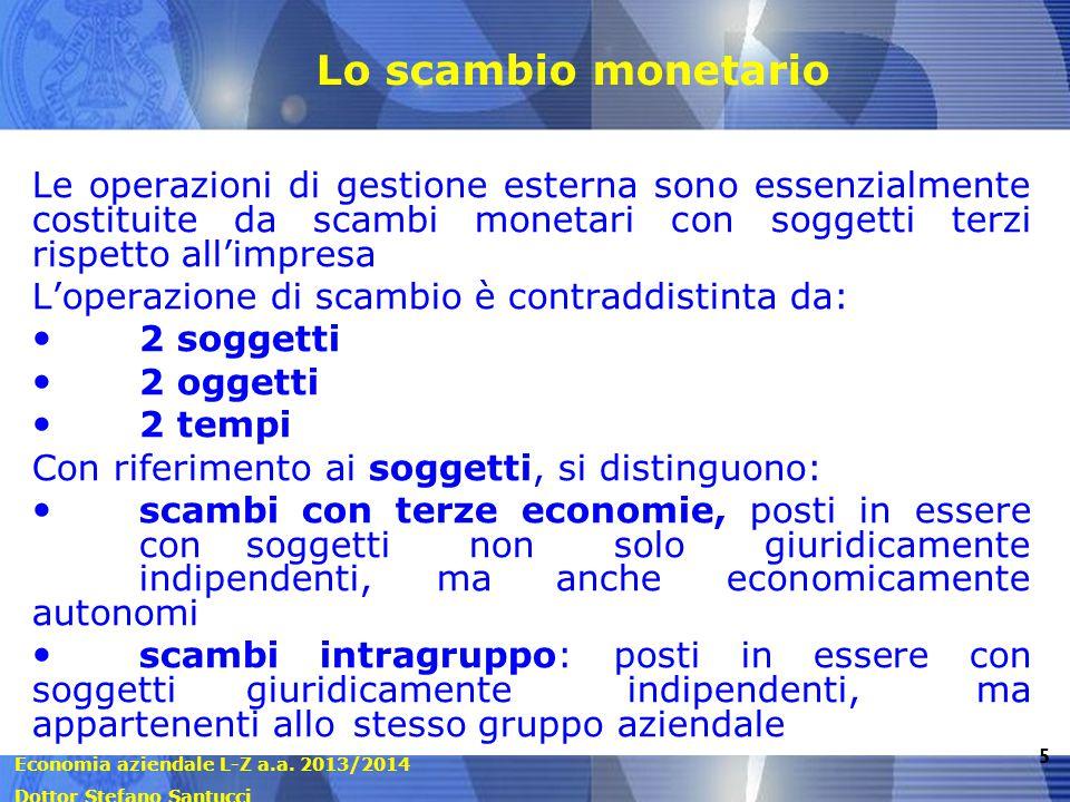 Economia aziendale L-Z a.a. 2013/2014 Dottor Stefano Santucci 5 Lo scambio monetario Le operazioni di gestione esterna sono essenzialmente costituite