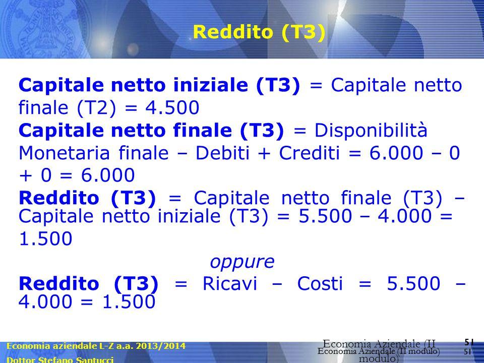 Economia aziendale L-Z a.a. 2013/2014 Dottor Stefano Santucci Economia Aziendale (II modulo) 51 Economia Aziendale (II modulo) Reddito (T3) Capitale n