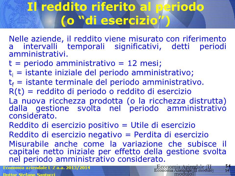 Economia aziendale L-Z a.a. 2013/2014 Dottor Stefano Santucci Economia Aziendale (II modulo) 54 Economia Aziendale (II modulo) Il reddito riferito al