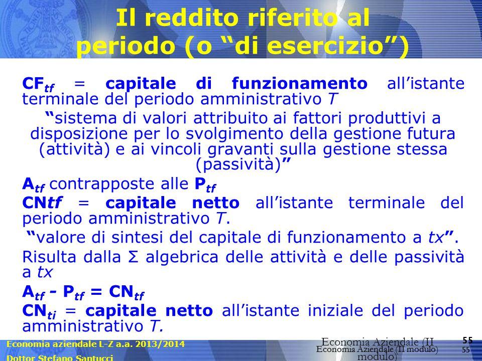 Economia aziendale L-Z a.a. 2013/2014 Dottor Stefano Santucci Economia Aziendale (II modulo) 55 Economia Aziendale (II modulo) Il reddito riferito al