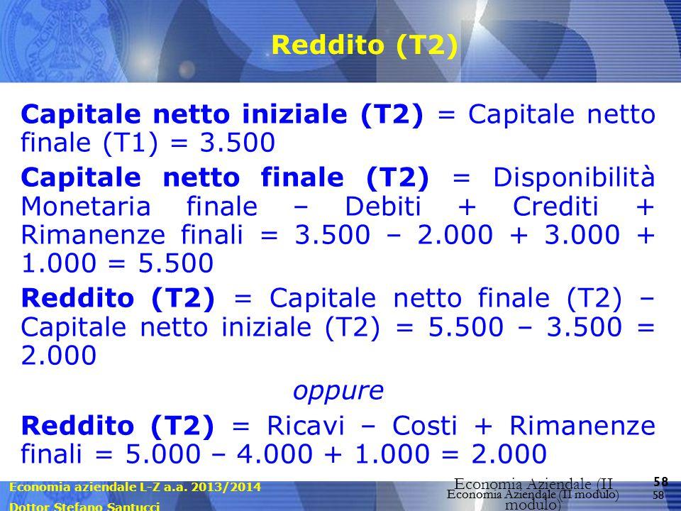 Economia aziendale L-Z a.a. 2013/2014 Dottor Stefano Santucci Economia Aziendale (II modulo) 58 Economia Aziendale (II modulo) Reddito (T2) Capitale n