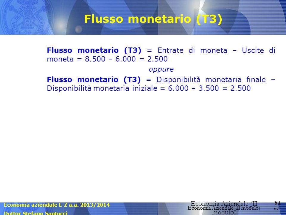 Economia aziendale L-Z a.a. 2013/2014 Dottor Stefano Santucci Economia Aziendale (II modulo) 62 Economia Aziendale (II modulo) Flusso monetario (T3) F