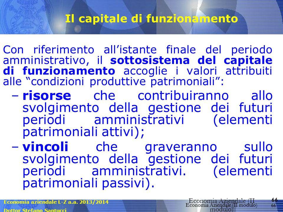 Economia aziendale L-Z a.a. 2013/2014 Dottor Stefano Santucci Economia Aziendale (II modulo) 66 Economia Aziendale (II modulo) Il capitale di funziona