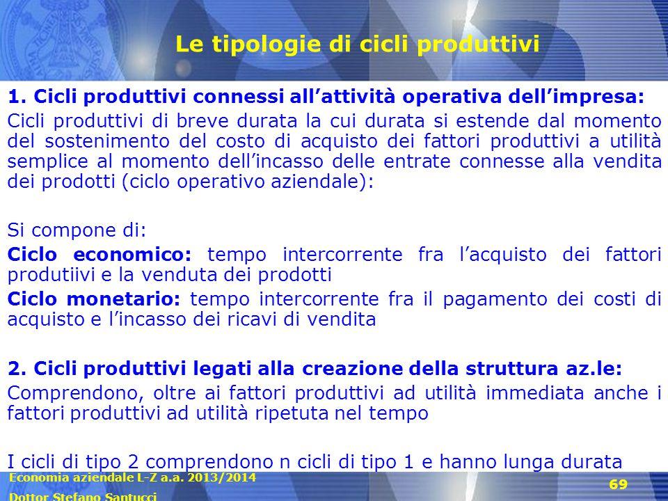Economia aziendale L-Z a.a. 2013/2014 Dottor Stefano Santucci 69 Le tipologie di cicli produttivi 1. Cicli produttivi connessi all'attività operativa