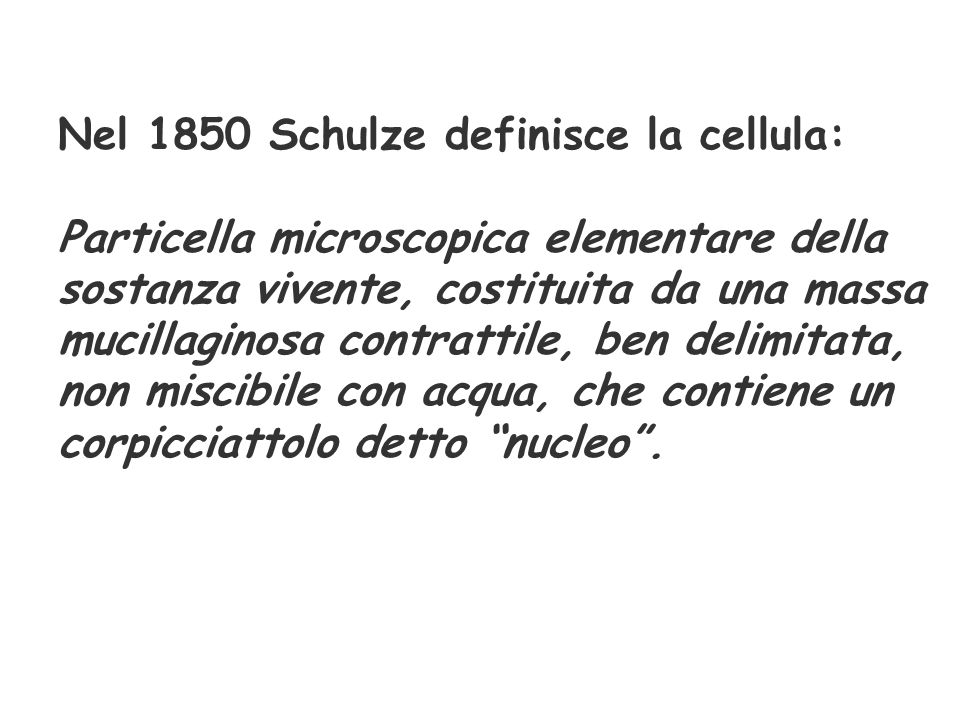 Nel 1850 Schulze definisce la cellula: Particella microscopica elementare della sostanza vivente, costituita da una massa mucillaginosa contrattile, b
