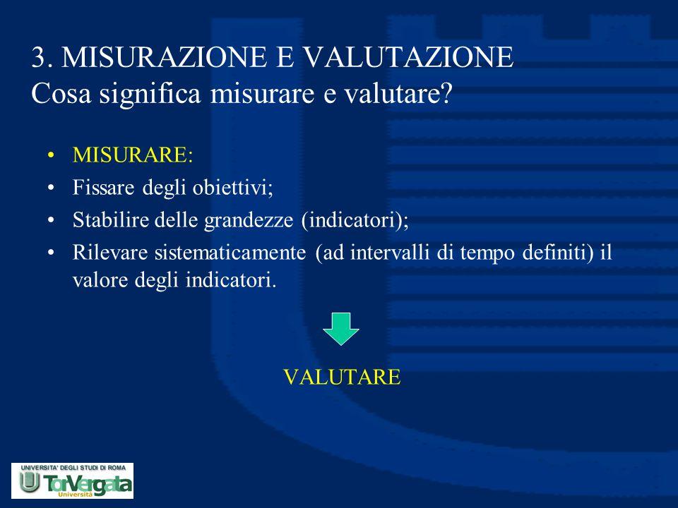 3. MISURAZIONE E VALUTAZIONE Cosa significa misurare e valutare? MISURARE: Fissare degli obiettivi; Stabilire delle grandezze (indicatori); Rilevare s
