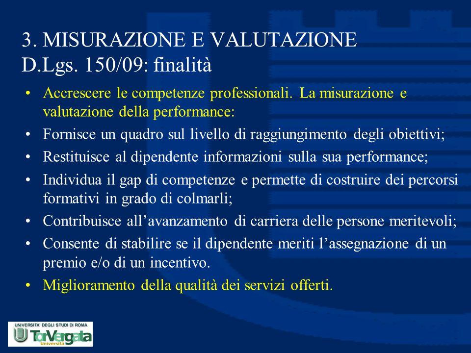 3. MISURAZIONE E VALUTAZIONE D.Lgs. 150/09: finalità Accrescere le competenze professionali. La misurazione e valutazione della performance: Fornisce
