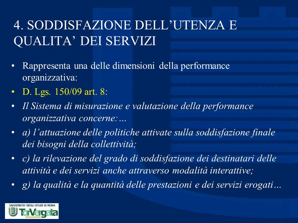 4. SODDISFAZIONE DELL'UTENZA E QUALITA' DEI SERVIZI Rappresenta una delle dimensioni della performance organizzativa: D. Lgs. 150/09 art. 8: Il Sistem