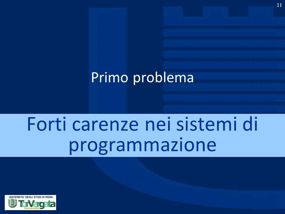 11 Primo problema Forti carenze nei sistemi di programmazione