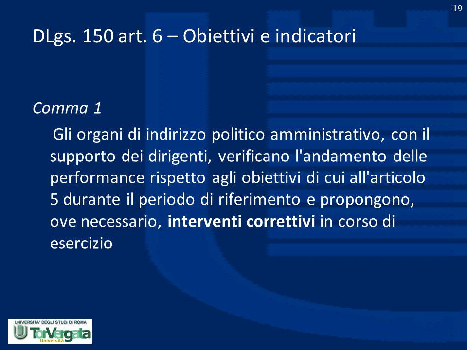 19 DLgs. 150 art. 6 – Obiettivi e indicatori Comma 1 Gli organi di indirizzo politico amministrativo, con il supporto dei dirigenti, verificano l'anda