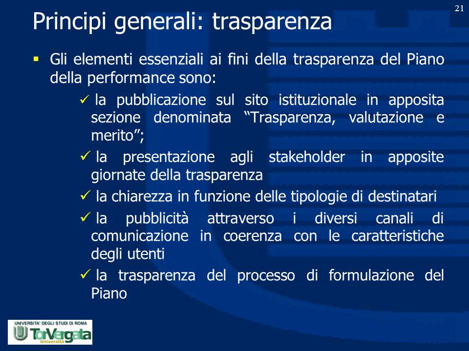 21 Principi generali: trasparenza  Gli elementi essenziali ai fini della trasparenza del Piano della performance sono: la pubblicazione sul sito isti