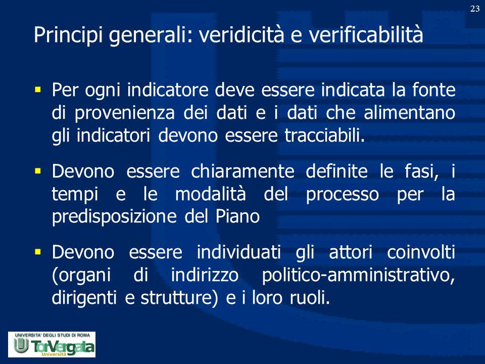 23 Principi generali: veridicità e verificabilità  Per ogni indicatore deve essere indicata la fonte di provenienza dei dati e i dati che alimentano