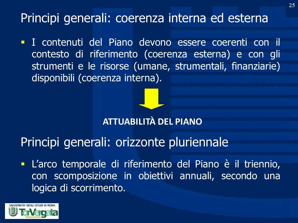 25 Principi generali: coerenza interna ed esterna  I contenuti del Piano devono essere coerenti con il contesto di riferimento (coerenza esterna) e c
