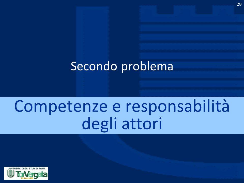 29 Secondo problema Competenze e responsabilità degli attori