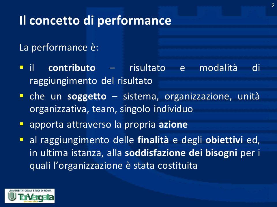 3 Il concetto di performance La performance è:  il contributo – risultato e modalità di raggiungimento del risultato  che un soggetto – sistema, org
