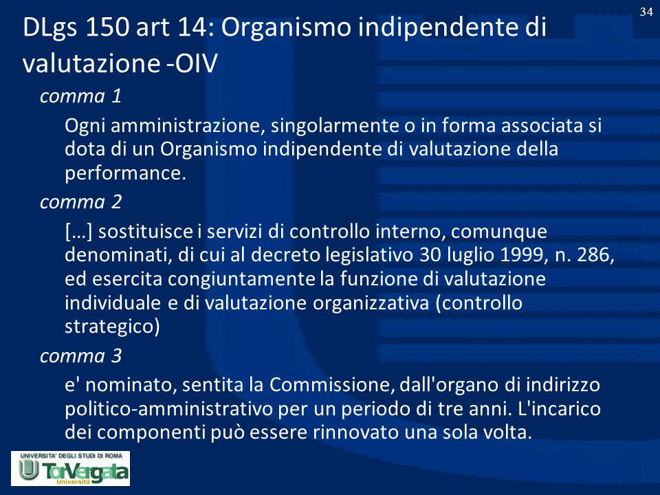 34 DLgs 150 art 14: Organismo indipendente di valutazione -OIV comma 1 Ogni amministrazione, singolarmente o in forma associata si dota di un Organism