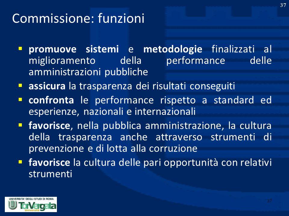 37 Commissione: funzioni  promuove sistemi e metodologie finalizzati al miglioramento della performance delle amministrazioni pubbliche  assicura la