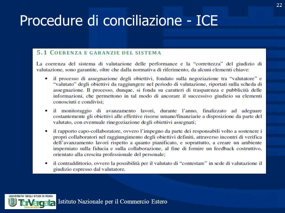 Procedure di conciliazione - ICE 22 Istituto Nazionale per il Commercio Estero