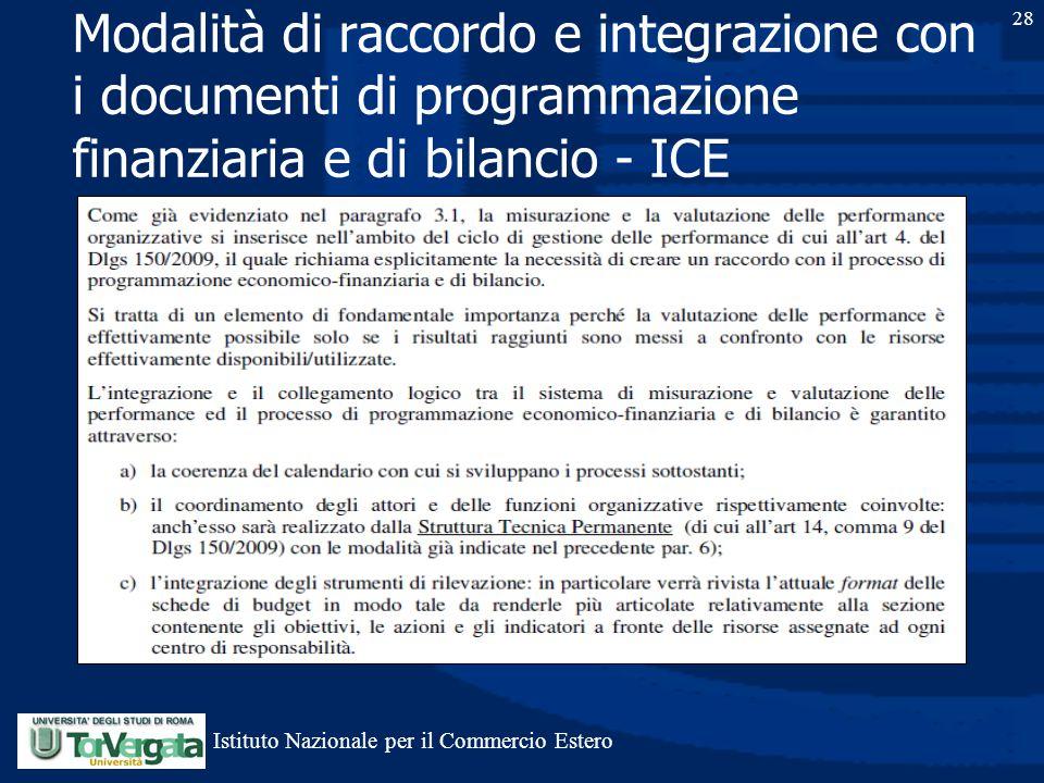 28 Modalità di raccordo e integrazione con i documenti di programmazione finanziaria e di bilancio - ICE Istituto Nazionale per il Commercio Estero