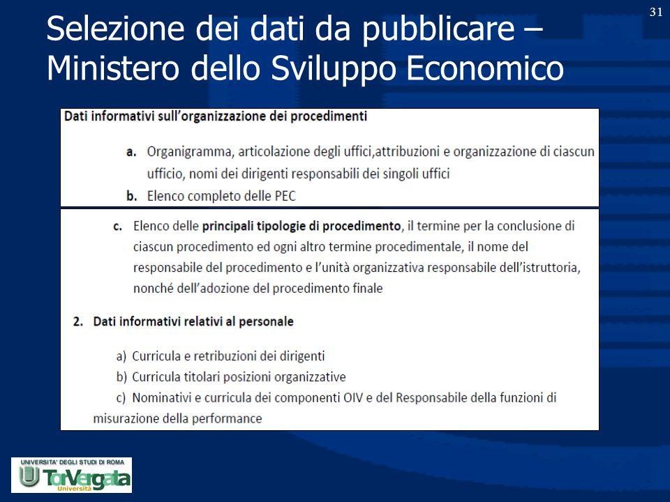 Selezione dei dati da pubblicare – Ministero dello Sviluppo Economico 31
