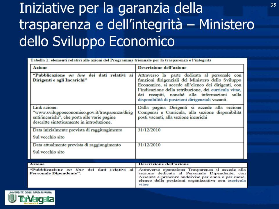 Iniziative per la garanzia della trasparenza e dell'integrità – Ministero dello Sviluppo Economico 35