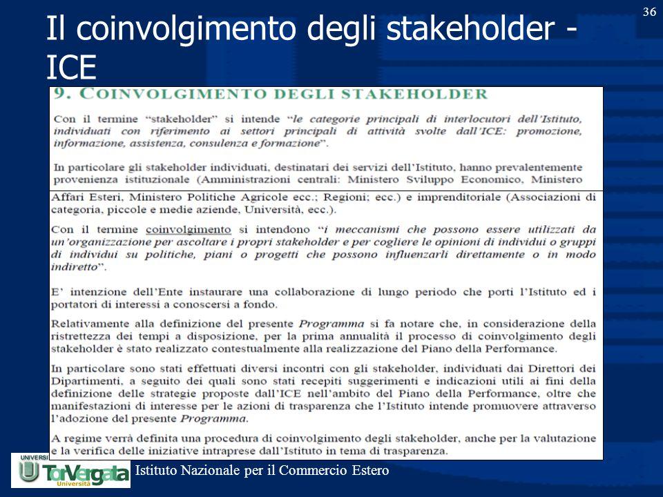Il coinvolgimento degli stakeholder - ICE 36 Istituto Nazionale per il Commercio Estero