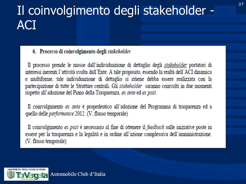 Il coinvolgimento degli stakeholder - ACI 37 Automobile Club d'Italia