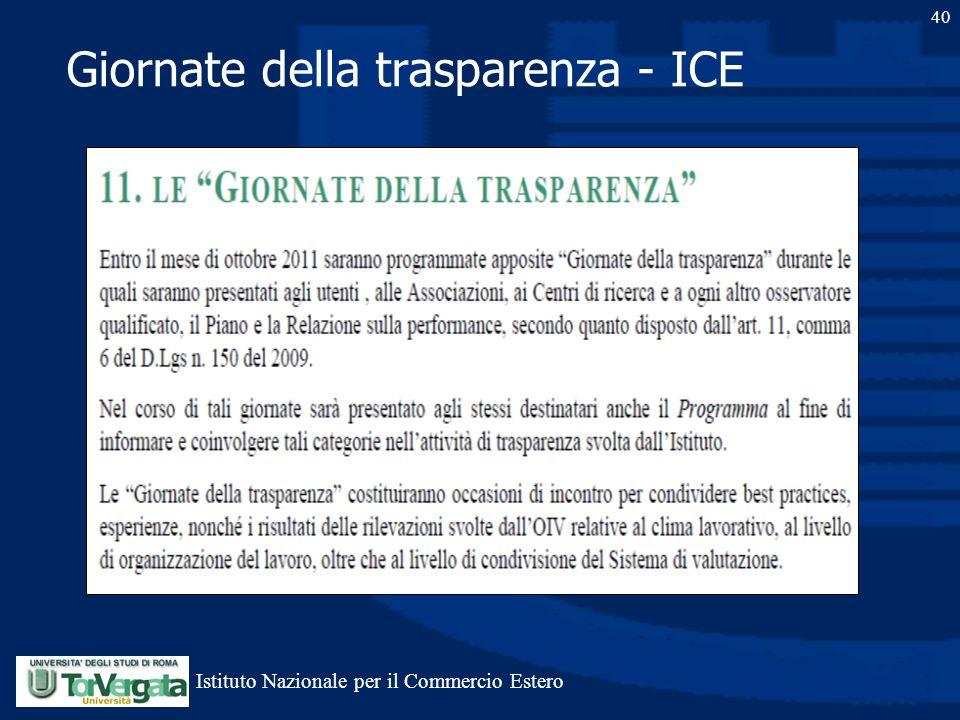 Giornate della trasparenza - ICE 40 Istituto Nazionale per il Commercio Estero