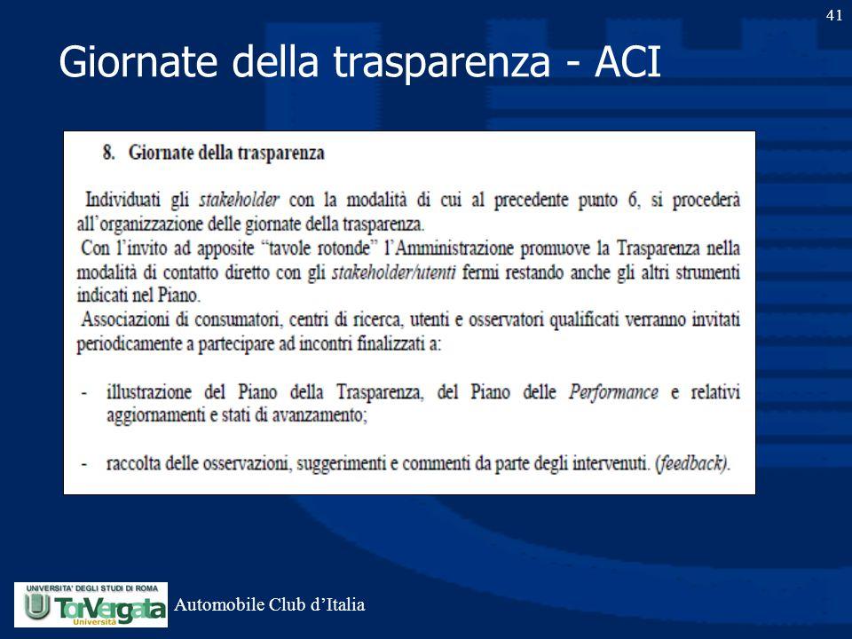 Giornate della trasparenza - ACI 41 Automobile Club d'Italia