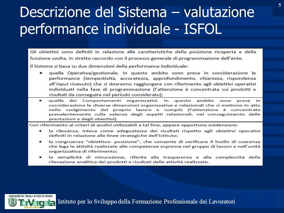 5 Descrizione del Sistema – valutazione performance individuale - ISFOL Istituto per lo Sviluppo della Formazione Professionale dei Lavoratori
