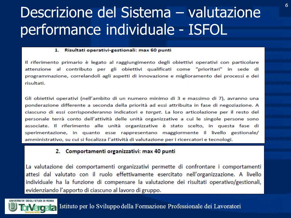 6 Descrizione del Sistema – valutazione performance individuale - ISFOL Istituto per lo Sviluppo della Formazione Professionale dei Lavoratori
