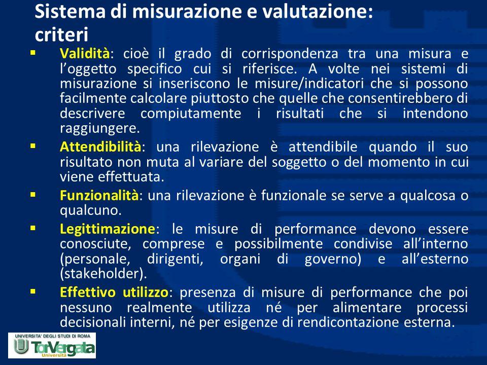 Sistema di misurazione e valutazione: criteri  Validità: cioè il grado di corrispondenza tra una misura e l'oggetto specifico cui si riferisce. A vol