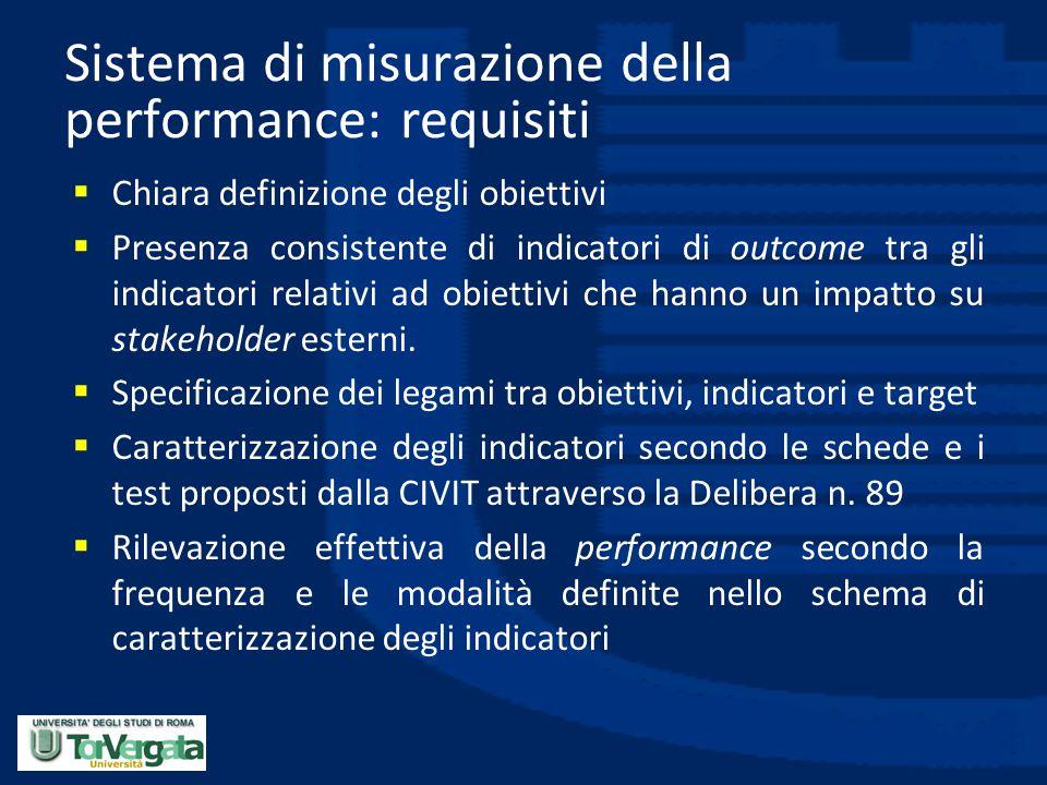 Sistema di misurazione della performance: requisiti  Chiara definizione degli obiettivi  Presenza consistente di indicatori di outcome tra gli indic