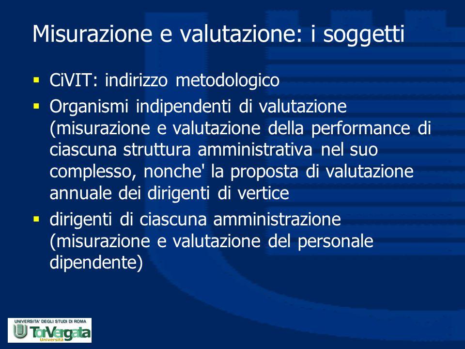 Misurazione e valutazione: i soggetti  CiVIT: indirizzo metodologico  Organismi indipendenti di valutazione (misurazione e valutazione della perform