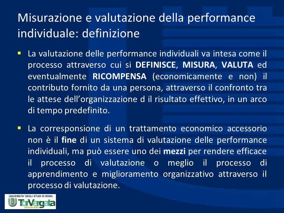 Misurazione e valutazione della performance individuale: definizione  La valutazione delle performance individuali va intesa come il processo attrave