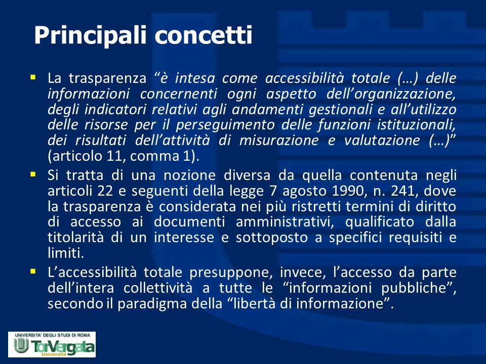 """Principali concetti  La trasparenza """"è intesa come accessibilità totale (…) delle informazioni concernenti ogni aspetto dell'organizzazione, degli in"""