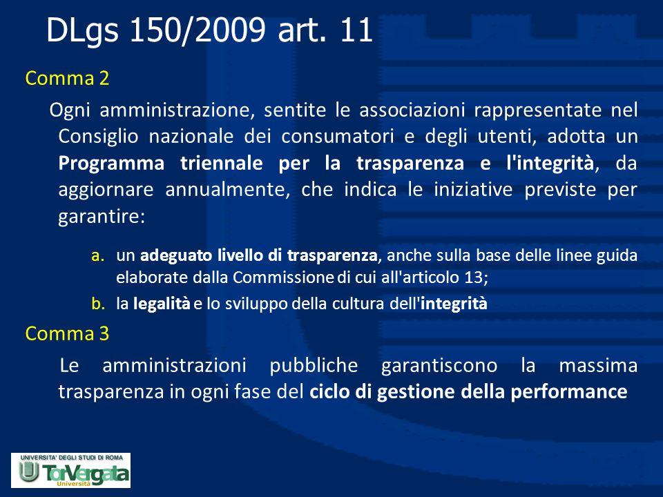 DLgs 150/2009 art. 11 Comma 2 Ogni amministrazione, sentite le associazioni rappresentate nel Consiglio nazionale dei consumatori e degli utenti, adot