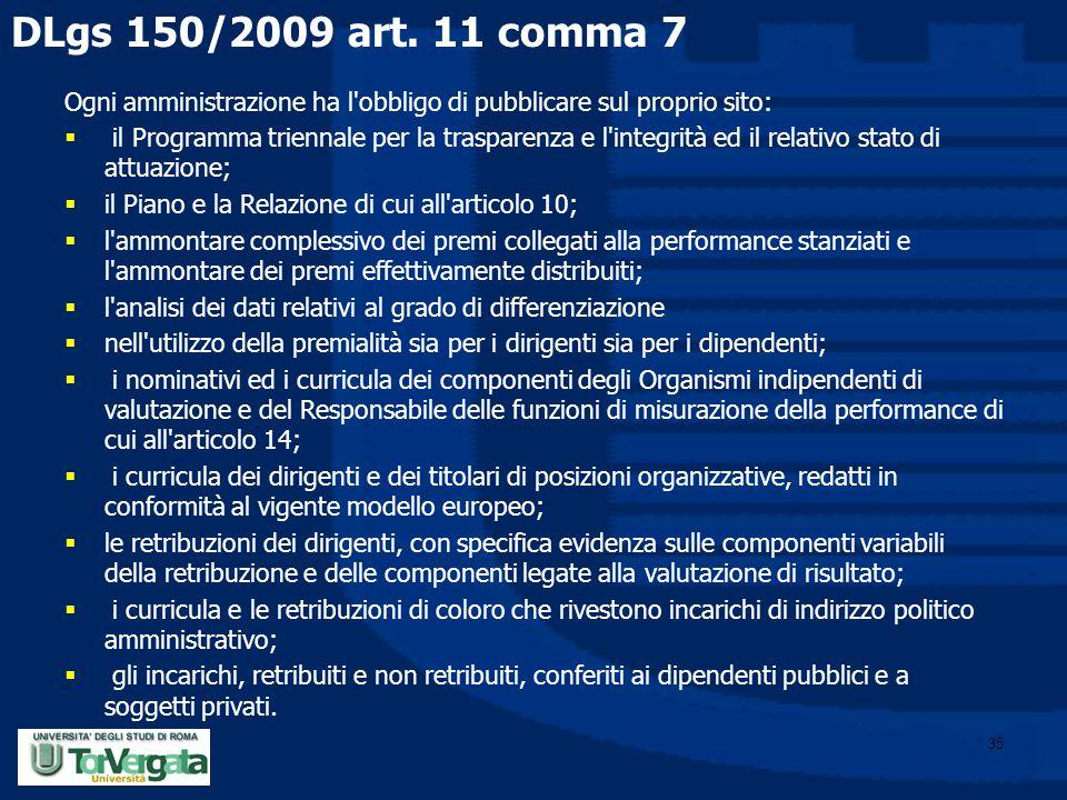 35 DLgs 150/2009 art. 11 comma 7 Ogni amministrazione ha l'obbligo di pubblicare sul proprio sito:  il Programma triennale per la trasparenza e l'int