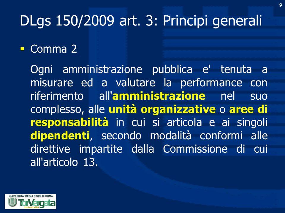DLgs 150/2009 art. 3: Principi generali  Comma 2 Ogni amministrazione pubblica e' tenuta a misurare ed a valutare la performance con riferimento all'