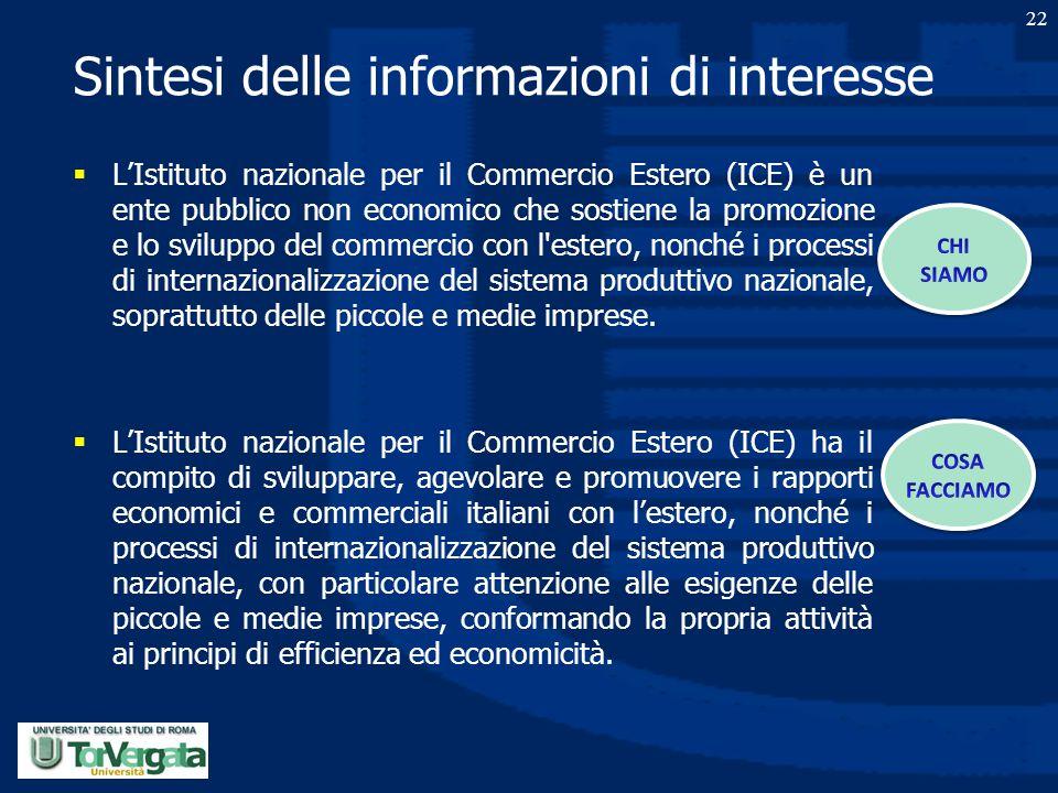Sintesi delle informazioni di interesse  L'Istituto nazionale per il Commercio Estero (ICE) è un ente pubblico non economico che sostiene la promozio