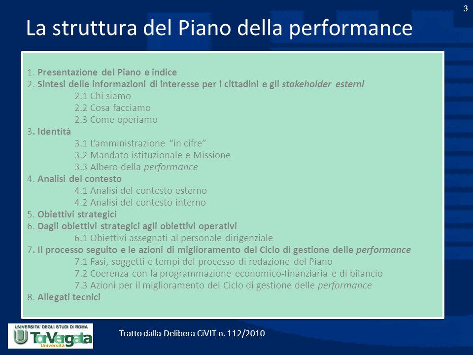 3 La struttura del Piano della performance 1. Presentazione del Piano e indice 2. Sintesi delle informazioni di interesse per i cittadini e gli stakeh
