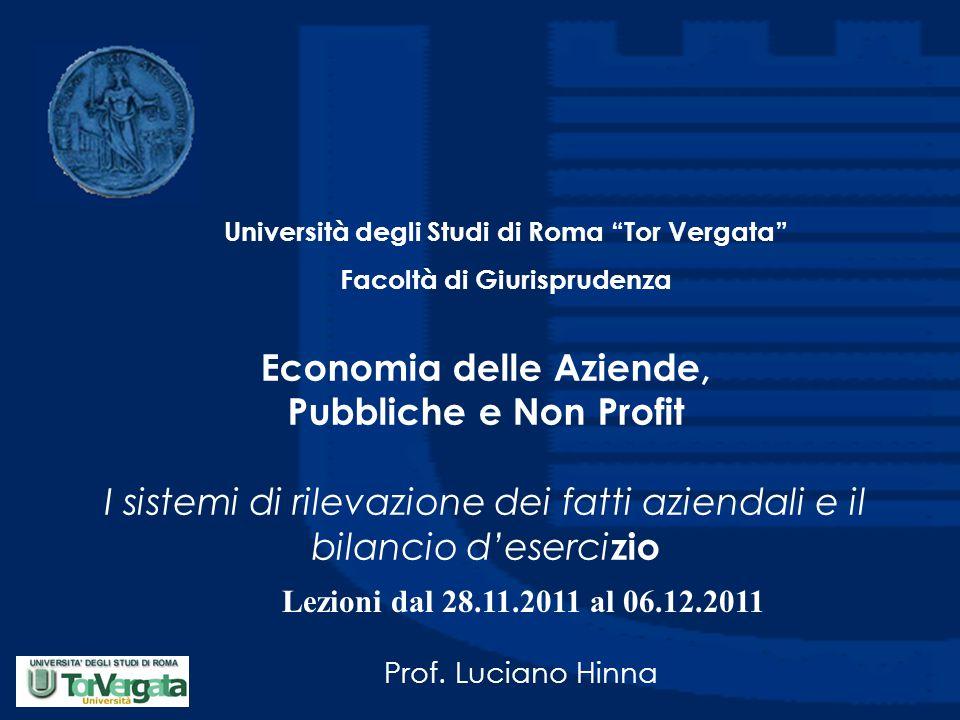 Economia delle Aziende, Pubbliche e Non Profit I sistemi di rilevazione dei fatti aziendali e il bilancio d'eserci zio Prof. Luciano Hinna Università