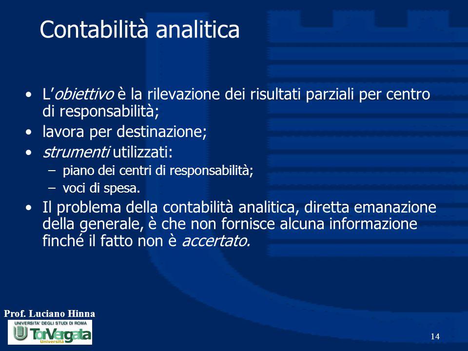 Prof. Luciano Hinna 14 Contabilità analitica L'obiettivo è la rilevazione dei risultati parziali per centro di responsabilità; lavora per destinazione
