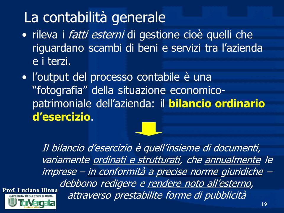 Prof. Luciano Hinna 19 rileva i fatti esterni di gestione cioè quelli che riguardano scambi di beni e servizi tra l'azienda e i terzi. l'output del pr