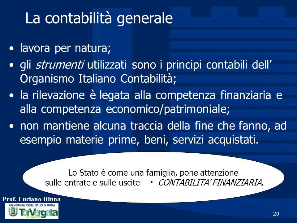 Prof. Luciano Hinna 20 lavora per natura; gli strumenti utilizzati sono i principi contabili dell' Organismo Italiano Contabilità; la rilevazione è le