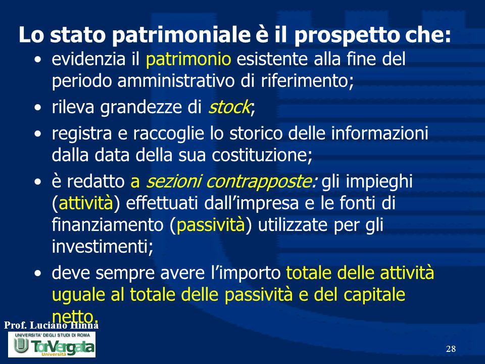 Prof. Luciano Hinna 28 evidenzia il patrimonio esistente alla fine del periodo amministrativo di riferimento; rileva grandezze di stock; registra e ra